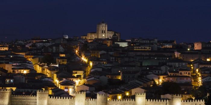 Walled city at night. Ávila. Spain